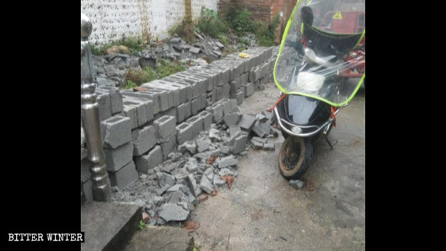 Authorities demolished the newly-built exterior wall of a meeting venue of the old Local Church in Ji'an city in June.