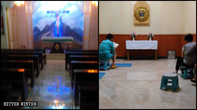 The underground Catholic church before and after it was cleared out.