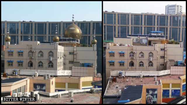 Huayuan Street Mosque had its seven domes and crescent moon symbols removed.