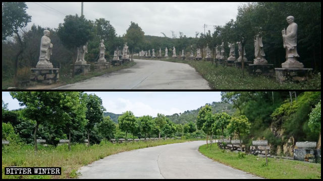 Lingjiu Temple's Arhat statues along Pilg