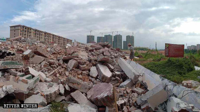 Ruins left after the Fuzhu Temple was demolished