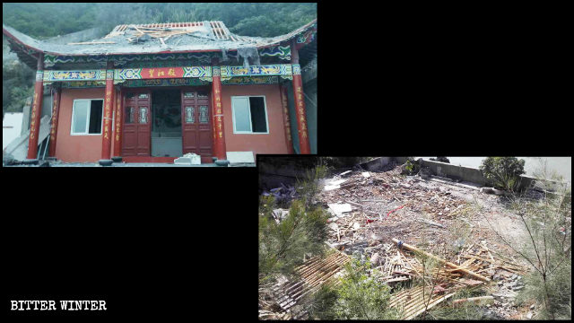 A Taoist temple in Yuhuan city was demolished on July 19.