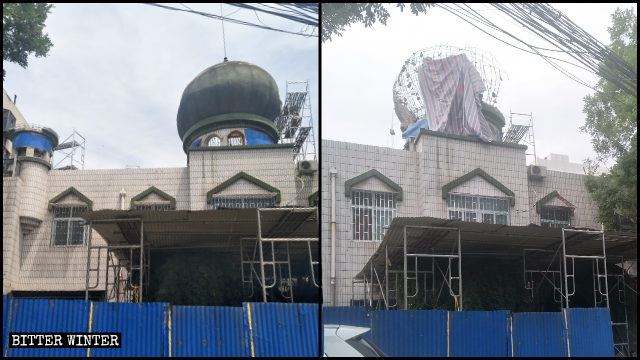 The dome was forcibly dismantled from the mosque in Duizhou village