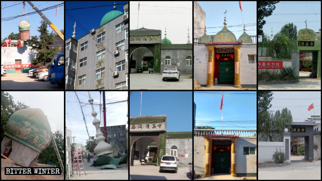 The domes and crescent moon symbols have been forcibly dismantled from multiple mosques in Zhengzhou city.