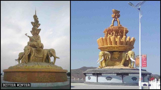 The statue of the bodhisattva Samantabhadra