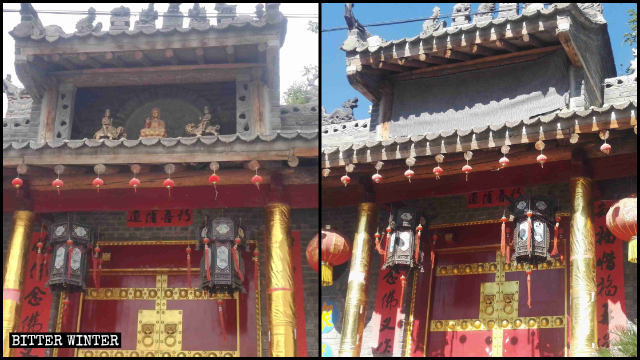 Three Buddhist statues above Lingying Temple's entrance