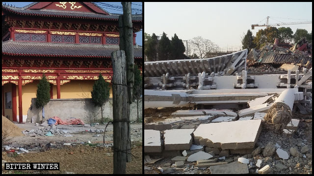 The main hall of Xi Temple before and after it was demolished.