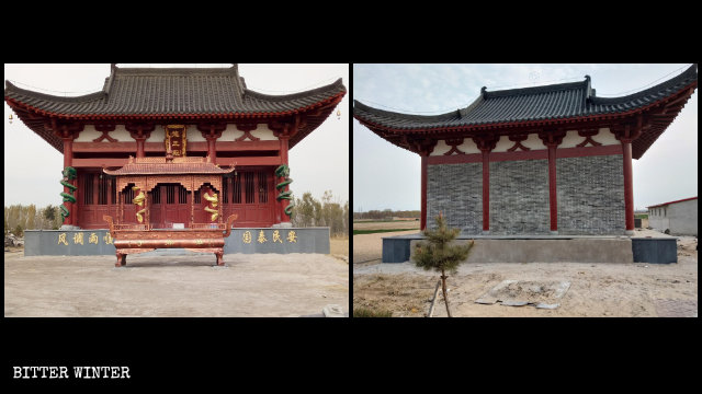 The entrance to Longwang Hall was bricked up, and the incense burner that used to be placed in front of the hall was removed.