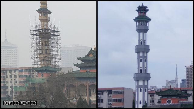 """The minaret of Beida Mosque in Zhengzhou before and after it underwent """"sinicization."""""""