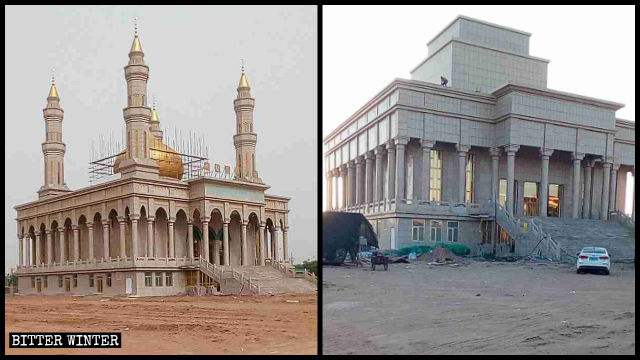 "The mosque in Dingbian county was ""transformed"" under government's orders."