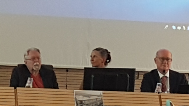 Prof. J. Gordon Melton (left), Prof. Holly Folk, and Prof. Massimo Introvigne discussing religious persecution in China at the CESNUR conference