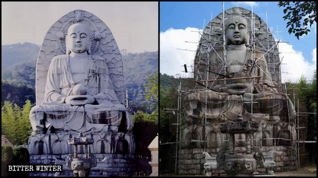 Steel bars have been installed around the statue of Kṣitigarbha, in preparations for the construction works to cover it up.