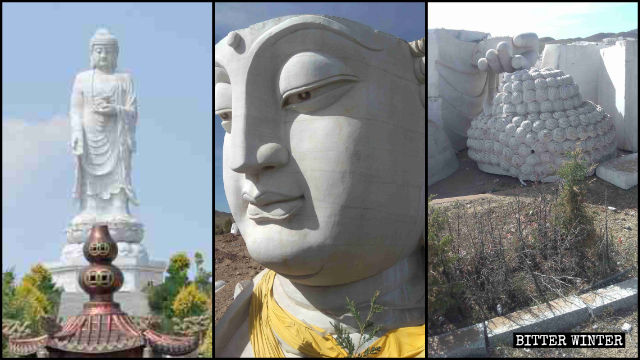 The statue of Shakyamuni Buddha was dismantled in a cemetery in Ulanqab city in Inner Mongolia.