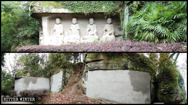 Twenty-four Arhat statues have been concealed behind brick walls.