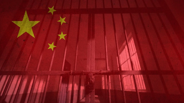 chinese prison and flag