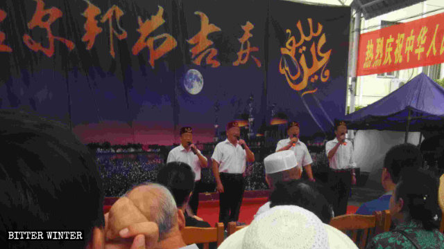 "Hui Muslims at the mosque in Meihekou are singing a patriotic song titled ""I Love the Blue Ocean."""
