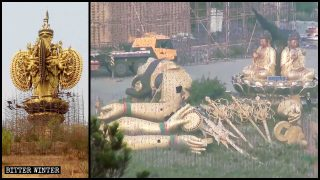 Two Colossal Outdoor Guanyin Statues Demolished