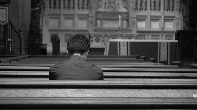 Praying in the church