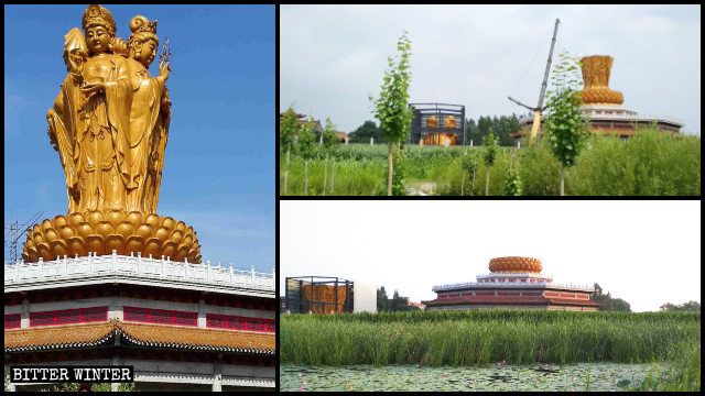 The four-faced Guanyin statue in Pumen Temple before and after being demolished
