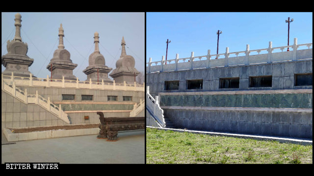 The pagodas before and after being demolished
