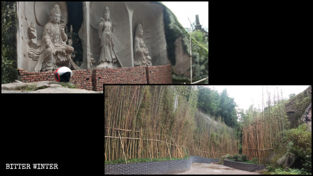 Thirty-three Guanyin sculptures in the scenic area were hidden from visitors' sight.