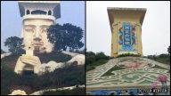 A Taoist God Sculpture Turned Into a Billboard