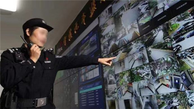 "A monitoring screen in a ""smart security residential community"" in Changning district in Shanghai."