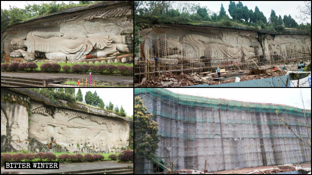 The reclining Buddha statue has been completely covered.