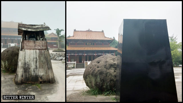 A statue of Cihang Zhenren was sealed off with sheets of black galvanized iron.