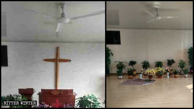 A house church meeting venue in Huinan county has its cross removed