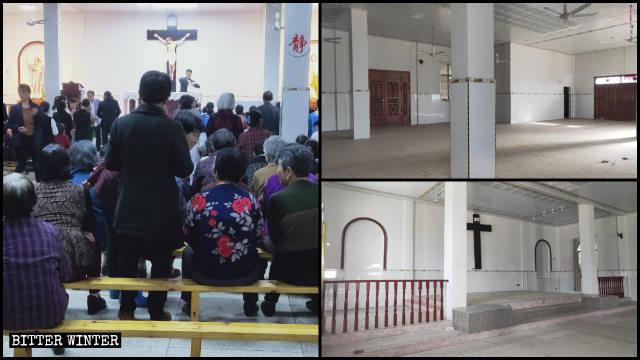 The Catholic church before and after it was emptied.
