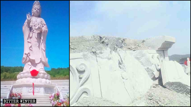 Guanyin statue in Qingyun Temple in Jiamusi city before and after its demolition