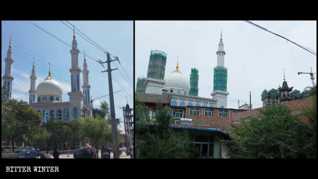 Mochuan Great Mosque in Hanji town of Linxia county is being rectified
