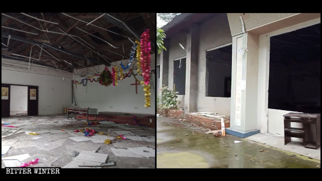 Windows and ceilings in a meeting venue of the River of Life Homeland Church were destroyed.