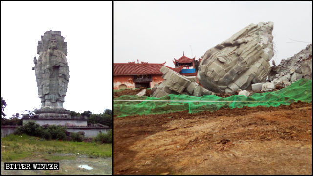 The four-faced Guanyin statue before and after