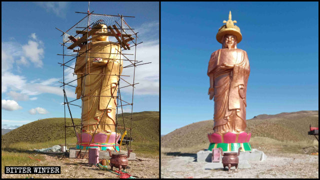 The head of the Amitabha Buddha statue has been replaced with that of Kangxi Emperor.