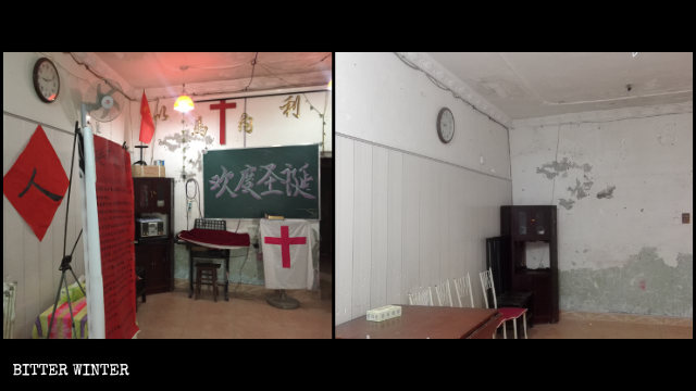 After the raid, a house church venue in the Wuchang district of Wuhan was left in disarray.