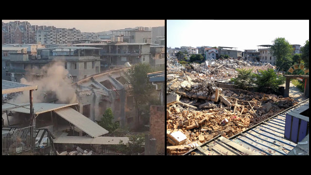 A state-approved meeting venue in Gaohu village was turned into a pile of rubble.