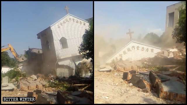 A Three-Self church in Liangcuo village demolished, collapsed into ruins.