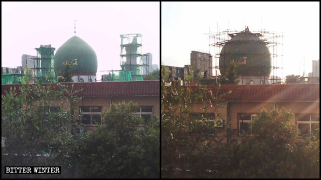 The domes and crescent moon and star symbols have been removed from the mosque in Anyang city.