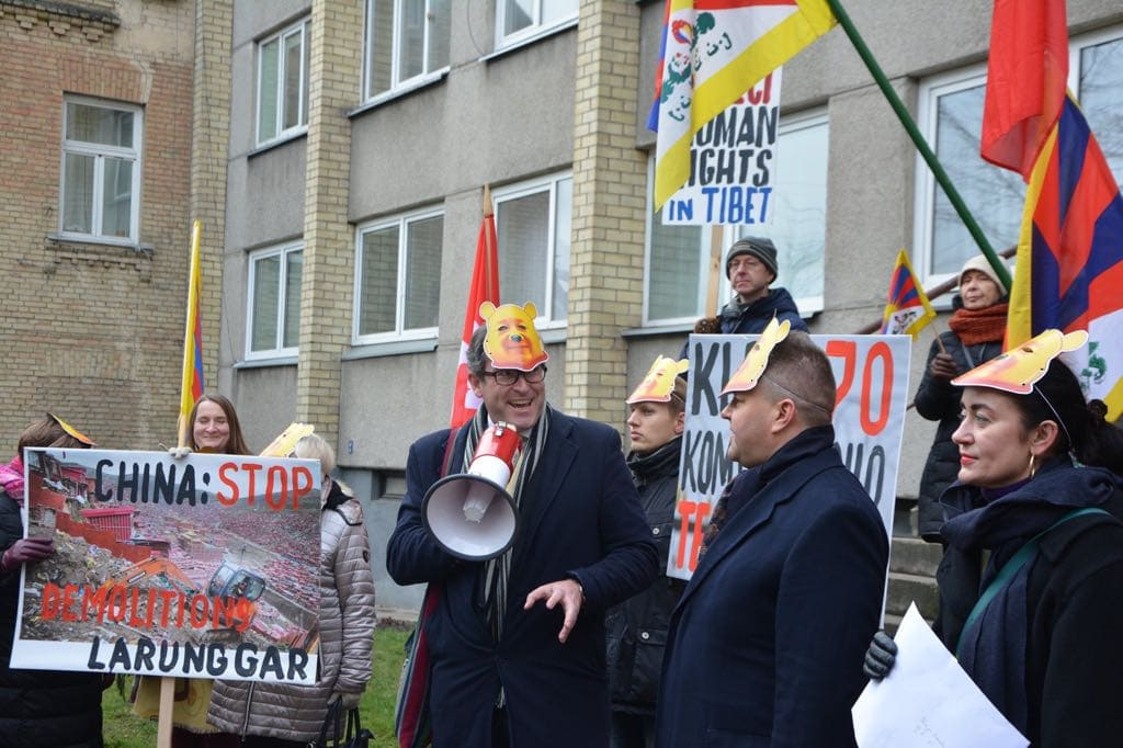 Protesters demonstrate outside the Chinese Embassy in Vilnius.