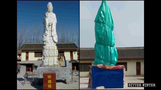 The Guanyin statue in Puzhao Temple before and after being covered