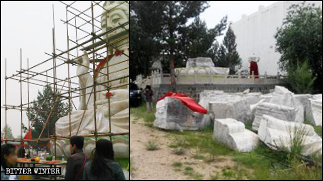The Guanyin statue in a Buddhist temple in Shanxi's Datong city before and after being demolished