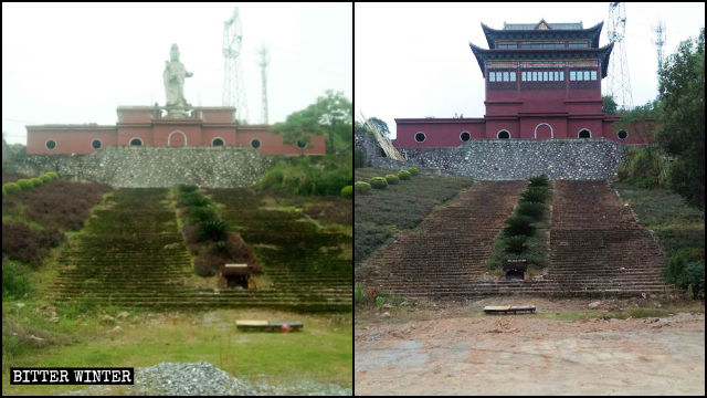 The outdoor Guanyin statue in Yunfeng Temple before and after being enclosed in a pavilion