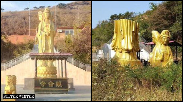 The three-faced Bodhisattva statue in Huangshan Temple has been demolished
