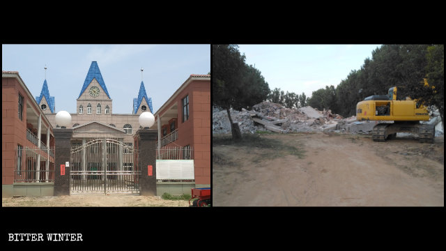 A Three-Self church in Wuzhi county before and after it was demolished.