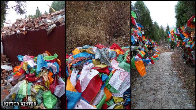Tibetan prayer flags around the stupas were taken down.