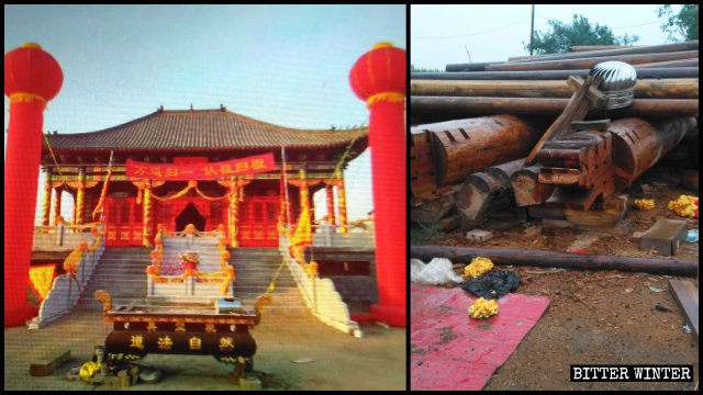 Only a pile of timber was left after the Zhenkong Taoist Temple was demolished.