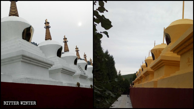 In August, the stupas in Shengquan Temple were painted yellow, and their golden peaks removed.