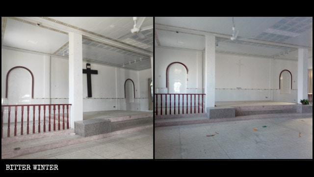 A Catholic church in Wenquan town before and after being emptied out